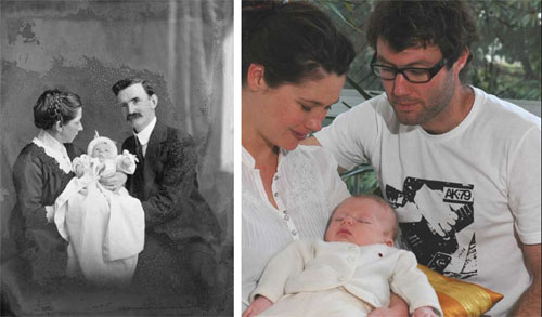 Frank James Denton, with his second wife Ethel and their baby, 1913 and One month old baby Austin with parents Emma and Richard, 2007..