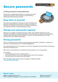 Thumbnail image of the 'Secure passwords' information sheet