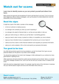 Thumbnail image of the 'Watch out for scams' information sheet