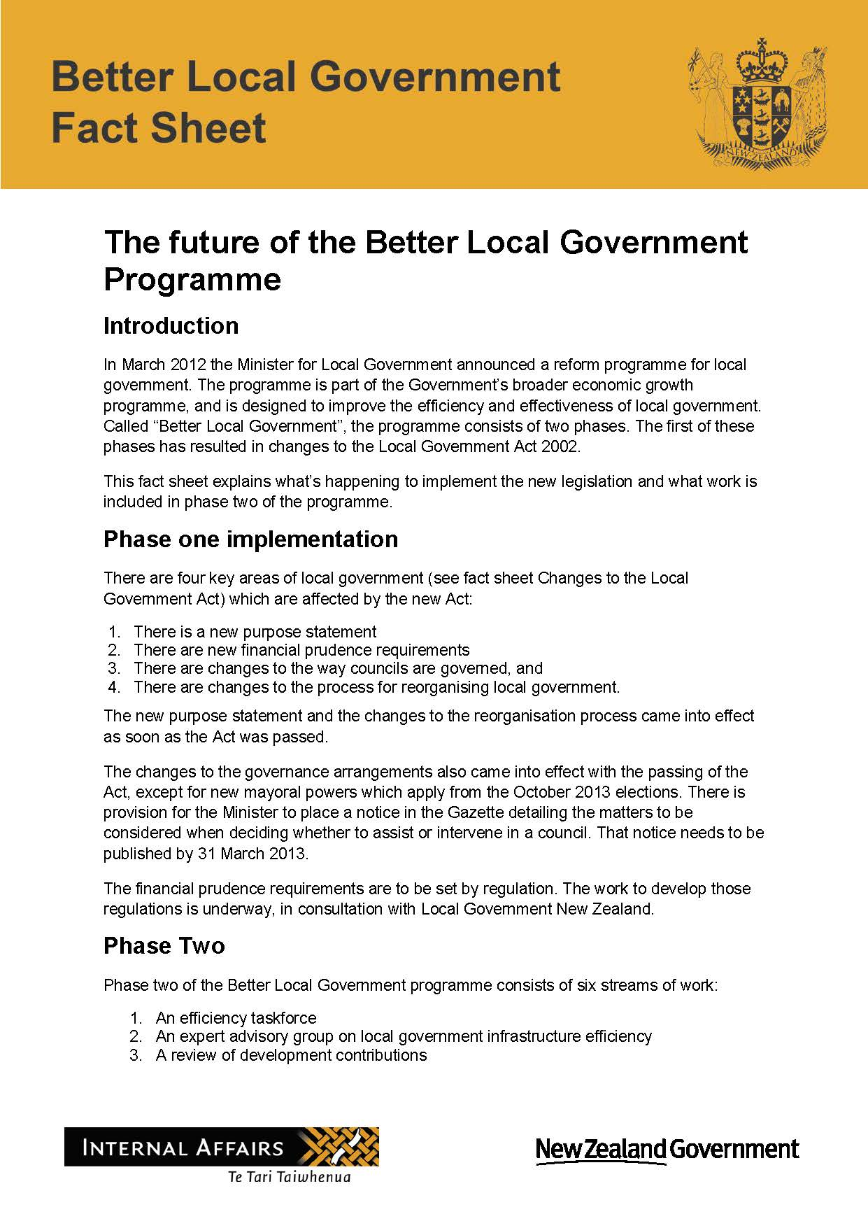 Fact Sheets For 2012 Act Dia Govt Nz