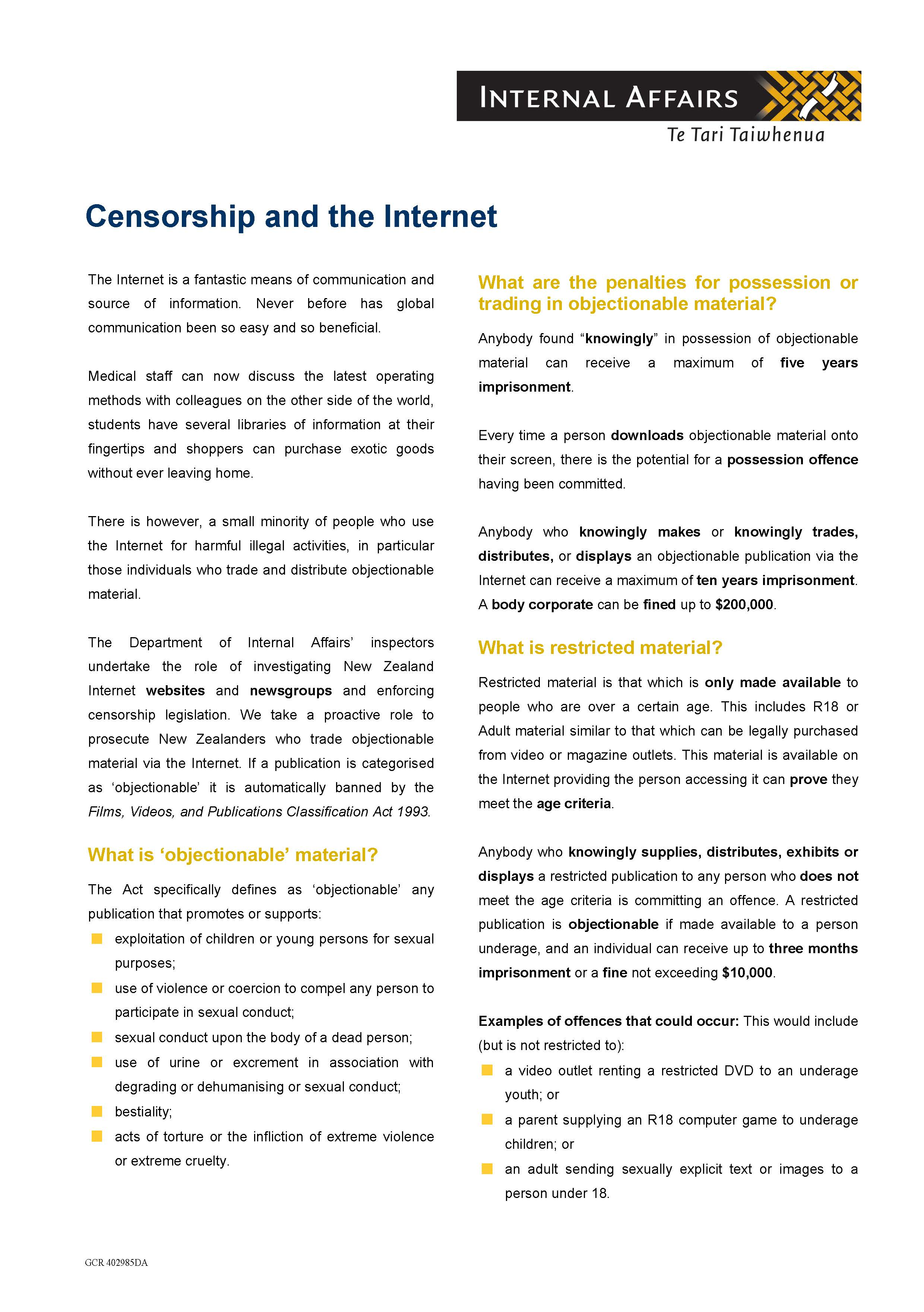 Thumbnail image of the Censorship and the Internet information sheet