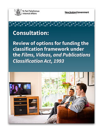 Consultation: Review of options for funding the classification framework under the Films, Videos, and Publications Classification Act, 1993 - cover image - two people watching television.