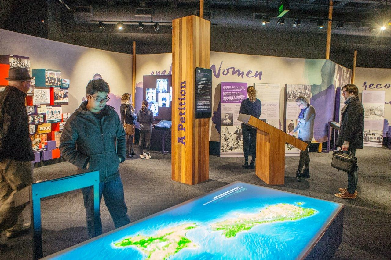 He Tohu interactives. The space around the document room features interactive displays.