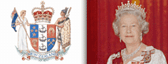 Queen Elizabeth II, Queen of New Zealand and the New Zealand Coat of Arms