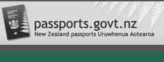 The front cover of the New Zealand passport and the silver fern beside the text passports.govt.nz