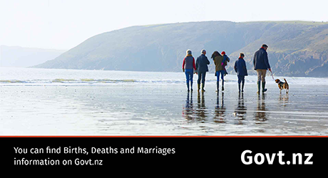 You can find Births, Deaths and Marriages information on Govt.nz
