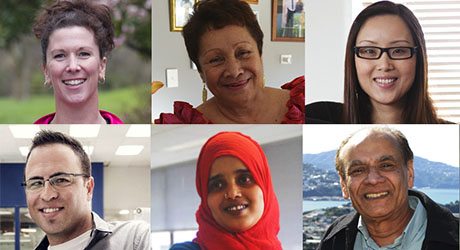 Faces of New Zealand citizens of various ethnicities