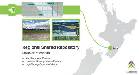 Now opens 2025. Regional Shared Repository - Levin, Horowhenua: Archives New Zealand, National Library of New Zealand, Ngā Taonga Sound and Vision
